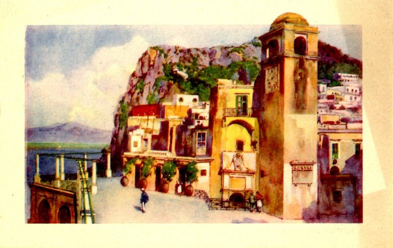 Italy - Capri. Vesuvius from Terrace of the Funicular Railway (discoloration)