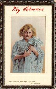 G22/ Valentine's Day Love Holiday Postcard c1910 Pretty Girl Robe Border 14
