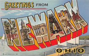 A51/ Newark Ohio Postcard Linen Large Letter Greetings from