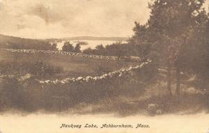 Ashburnham Massachusetts~Long Stone Wall Near Baukoag Lake~B&W Postcard 1906 UDB