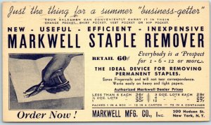 Vintage Advertising Postcard MARKELL MFG CO Staple Remover New York City 1939