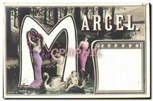 Old Postcard Fancy Surname Marcel