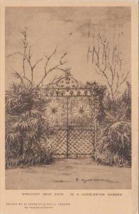Wrought Iron Gate In A Charleston Garden Charleston New York Albertype 1945