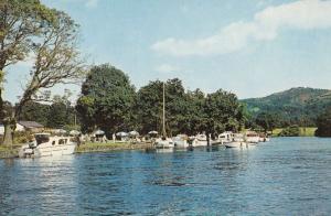 Tea Gardens at the Newby Bridge Riverside Boat Moorings 1970s Postcard