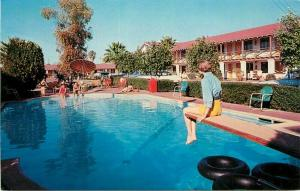 Arizona Color El Rancho Motor Motel 1950s Swimming Pool Postcard pool 3353