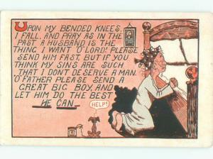 Pre-Linen Comic MAN PRAYING AT HIS BED AB9186