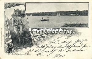 caroline islands, YAP WAQAB, Multiview, River Scene, Armed Native Boy (1899)