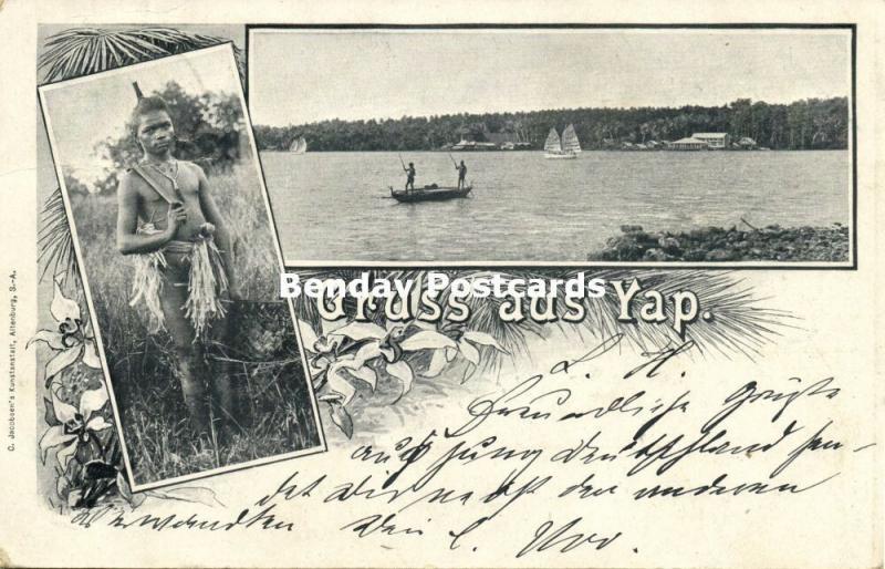 caroline islands, YAP WAQAB, Multiview, River Scene, Armed Native Boy (1899)