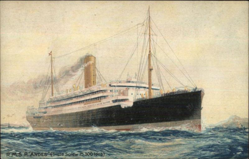 Royal Mail Steam Packet Ship RMSP ANDES c1910 Postcard