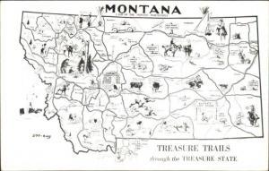 Montana Map TREASURE TRAILS Postcard - Kodak Photo Paper