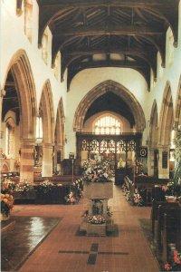 Postcard England St Katharine's Church inside view Irchester