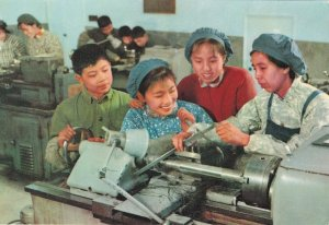 Japanese Female Factory Industry Workers Machinery Japan Postcard