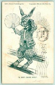 Fantasy Comic Pun~A Hot Cross Bun Dressed Rabbit in Sweaty Suit~Detroit Pub Co