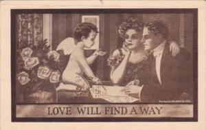 Romantic Couple With Cupid Love Will Find A Way 1919