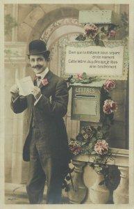 Postcard elegant suit moustache sending letter letterbox gentleman hat bow tie