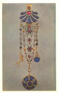 Postcard art jewelry antique turnip watch on a chatelaine london gold lapis