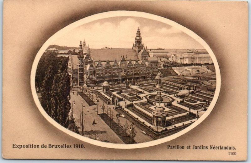 Brussels International 1910 Expo Postcard Dutch Gardens Bird's-Eye View UNUSED