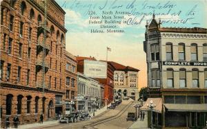 Helena Montana~6th Avenue @ Main Street~Electric Bldg~Western Union~Federal~1914