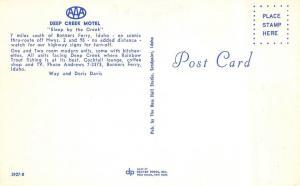 BONNERS FERRY, ID Idaho  DEEP CREEK MOTEL  Boundary Co c1950's Roadside Postcard