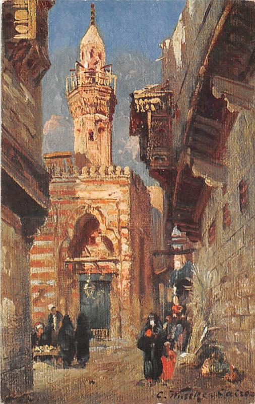 Egypt Strasse in Kairo, Cairo Street, Rue au Caire, C. Wuttke Signed