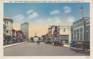 FAYETTEVILLE, North Carolina, 1930-1940's; Hay Street Looking Towards Old Mar...