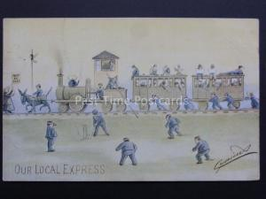 CYNICUS : Cricket Match & our Local Express Train à vapeur c1909 bar pub par