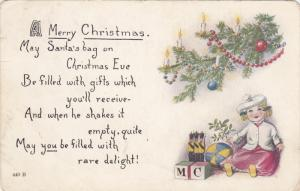 CHRISTMAS; Poem, Doll, Toy Soldiers, Blocks and Ball under decorated tree, 00...