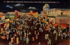 New Jersey Wildwood by the Sea Night View Of Boardwalk Showing Plaza Dance Ha...