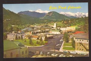 ESTES PARK COLORADO 1950's CARS BIRDSEYE VIEW DOWNTOWN VINTAGE POSTCARD