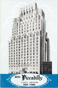 Postcard NY New York NYC Hotel Piccadilly Times Square Theatre Area Unposted