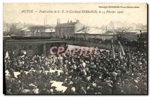 Postcard Old Death Funerals SE of Cardinal Perraud Autun