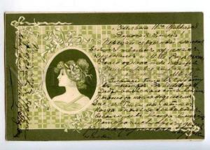 169860 ART NOUVEAU Greek Girl Vintage EMBOSSED PC
