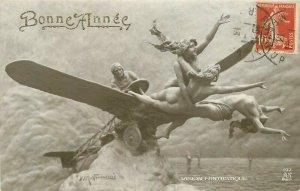 Dominico Mastroianni #197 Early Aviation Fantasy RPPC Photo Postcard 21-2637