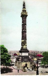 Brussels Monument Vintage Real Photograph Postcard that has a Hand Colored