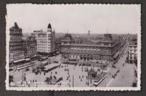 Rogier Square & Railway Station , Brussels, Belgium - Real Photo - Used 1937