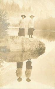 C-1910 Two women Mirror Lake Yosemite California RPPC Photo Postcard 3386