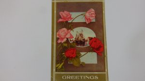 Antique 1910 Fancy Greeting Postcard Posted 1910