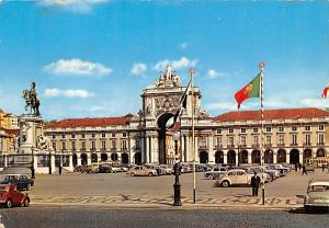 Portugal Old Vintage Antique Post Card Place du Commerce Lisboa Postal Used U...