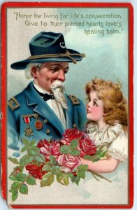 Vintage DECORATION DAY Postcard Honor the Living… G.A.R. Soldier Tuck's 1910s