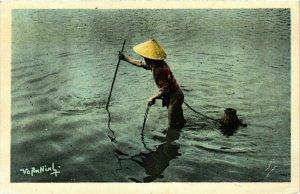 CPA AK INDOCHINA Nord Vietnam La Peche au Cai Ram VIETNAM (957563)