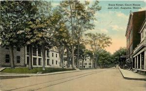 Augusta Maine~Trolley Tracks on State St~Courthouse, Jail~c1913 Postcard~Young's