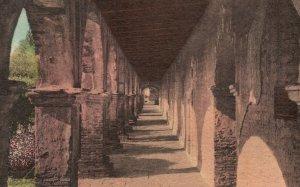 Vintage Postcard 1930 Chapel Corridor Old Mission San Juan Capistrano California