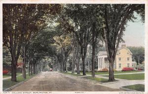 College Street, Burlington, Vermont, early postcard, Used in 1913