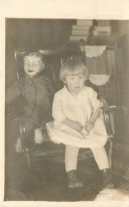Lil Girl~Life Size Boy Doll Share Chair~Porcelain Head~1918 Real Photo~RPPC