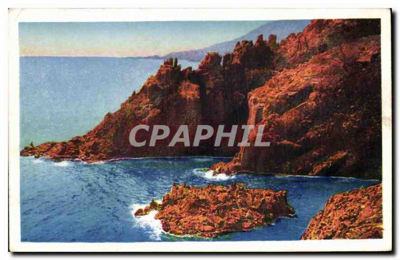 Old Postcard The French Riviera Corniche Golden Red Rocks at Trayas