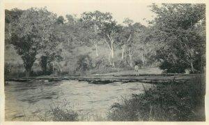 Belgian Congo real photo wood bridge scenery