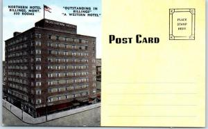 Billings, Montana Postcard NORTHERN HOTEL In-Room Note Card Kropp Linen c1940s