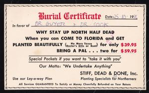Burial Request To Die Comic Florida USA Death Sentence Postcard