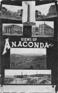 Anaconda Montana~Multi Mini View~Downtown Main Streets~Smelter~Birdseye~1913