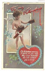 Valentine , Cherub in boxing gloves greetings , TUCK No155 ; In L0ve's Servic...